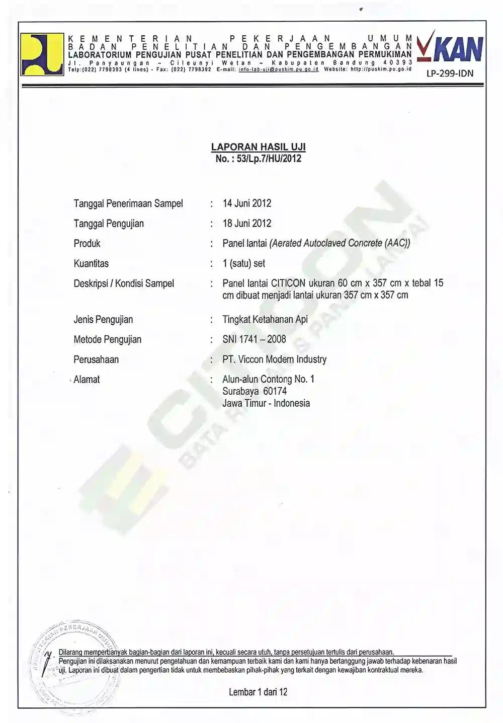 sertifikat dan tes uji panel lantai citicon